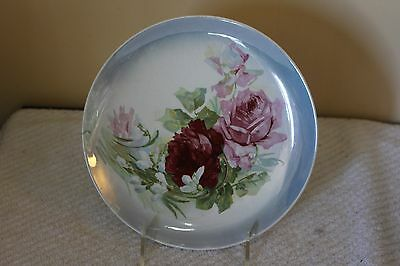 Vintage Antique Dresden China Red Pink Rose Plate 8 1/4""