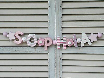 Sophia Wooden Name Sign Pink Wall Letters Baby Shower Nursery Decor Shabby Chic