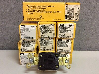 New Hubbell Receptacle HBL5361 2-Pole 3-Wire 20A 125V 5-20R Brown 10 Piece Lot