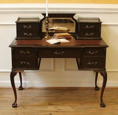Antique Carved Chippendale Desk, Ladies Writing Table. English, Dark Mahogany.