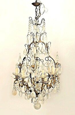 Louis XV Style (19/20th Cent) Bronze and Rock Crystal Chandelier