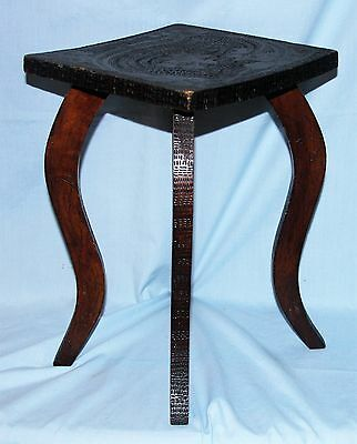 Small Vintage Carved Stained Wood Table, Plant Stand, Stool