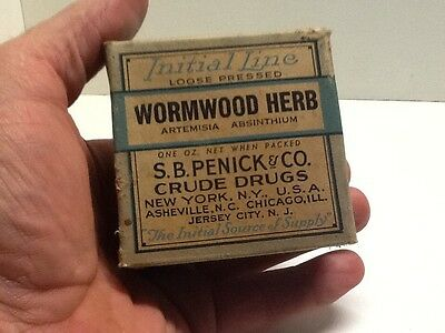 Vintage Box Of Initial Line Wormwood Herb, S.B. Penick & Co. Crude Drugs.