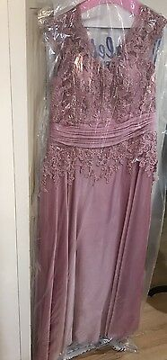 Jade Rose Petal Mother Of The Bride Dress Size 16 Full Length Lace