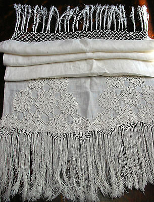 """Antique(c.1910) Runner/ Scarf Hand Crochet Lace & Fringes, Linen,41"""" by 18"""""""