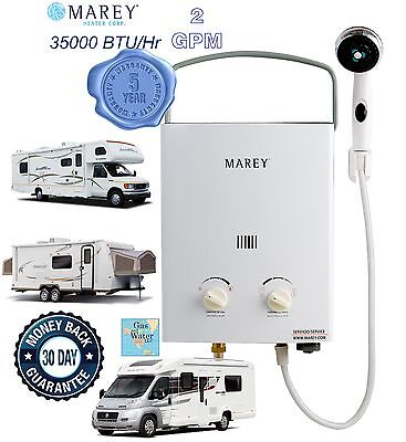 Portable Tankless Water Heater Marey 2GPM RV's & Campers Propane Gas LPG GA5PORT