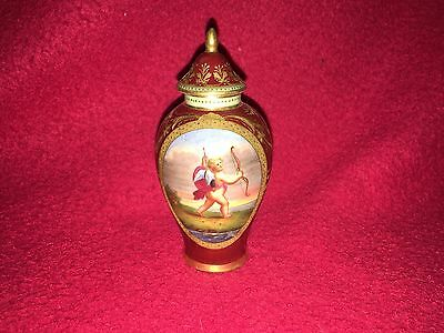 Antique Austrian Porcelain Small Urn With Cupid Painted Gilt