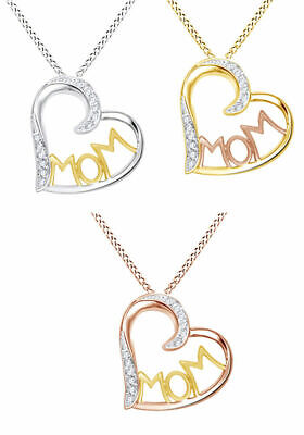 1/10Ct Round Real Diamond 14K Gold Over Mom Heart Pendant Valentine Gifts
