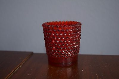 Cranberry Hobnail with Yellow Tint Glass Toothpick Match Candle Holder