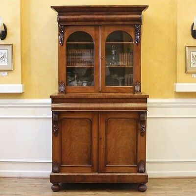 Large Antique Bookcase, English Victorian Mahogany Library Cabinet.