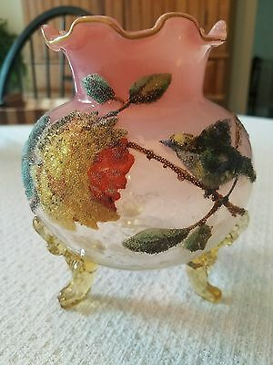 3 footed round victorian glass coralene antique vase - collectible