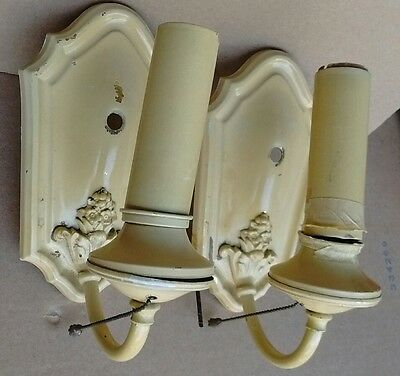 2 VTG ART DECO ERA Brass Wall SCONCES