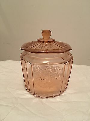 Anchor Hocking Vintage Cookie Biscuit Jar with lid Mayfair Open Rose