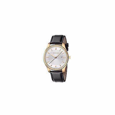 Wenger City Classic Men's Watch - Silver Dial Black Leather Strap - Gold Case