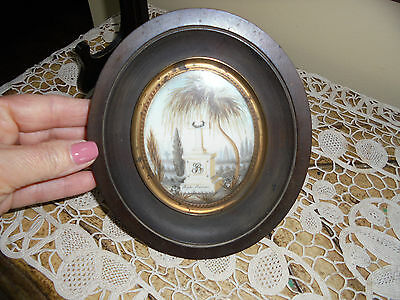Antique 19c French Sentimental Mourning Framed Hair Art With Momument Dated 1831