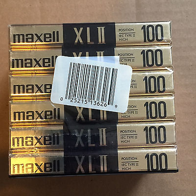 Pack of 6 New Sealed Maxell XLII 100 Cassette Tape Made in Japan