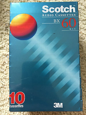 Pack of 10 New Sealed Scotch BX 60  Cassette Tape Made in Korea