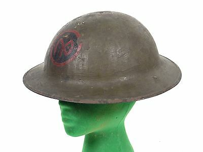 Vintage WW1 Brodie Dough Boy Steel Helmet 105th Infantry Division Lieutenant