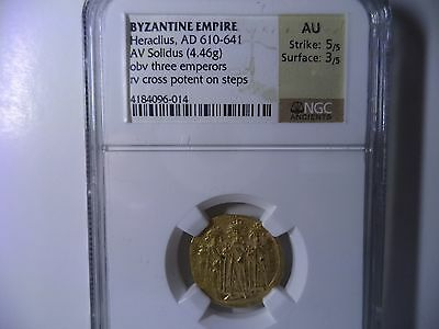 Byzantine Empire Heraclius, AD 610-641 Ancient Gold Coin  NGC AU