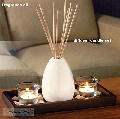 Vintage Ceramic Vase Reed Diffuser & Candle Set With Stones & Wooden Tray