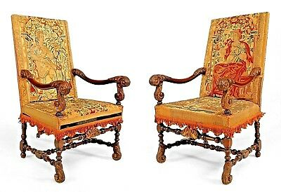 Pair of English Renaissance Style (19th Cent) Walnut Carved Open Arm Chairs