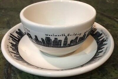 Fishs Eddy Homer Laughlin New York Skyline Tea Coffee Cup & Saucer w Twin Towers