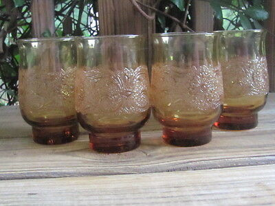 "Libbey~Rock Sharpe~Americana~Amber~4½"" Glasses~Set of Four"