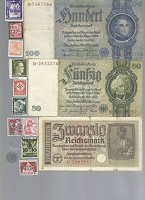Nazi Banknote, Coin And Stamp Set  # 84