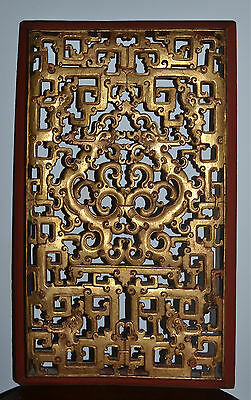 Outstanding Antique Chinese Deeply Carved Gilt Wood Panel Dragons