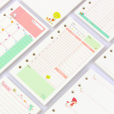Notebook papers A5 A6 pages planner filler paper inside page weekly monthly plan