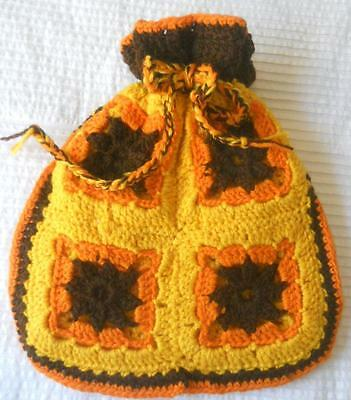 Funky Vintage 1970's Hand Crochet Tea Cosy Orange Yellow Brown Granny Squares