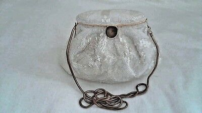 "Vintage Ivory Beaded Bag with Flip up Top - 5"" x 7"" medium, All bugle Beads"
