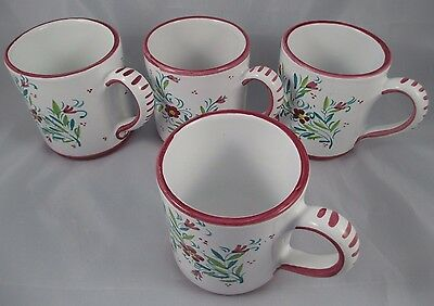 Set of 4 Deruta Ceramiche Artisan Crafted Coffee Mugs Made in Italy Pink Flowers