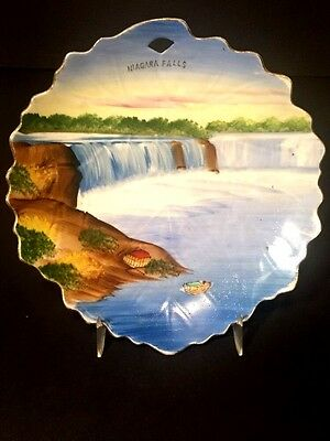 Vtg Niagara Falls Early 1920s - 30s  Porcelain Scalloped Plate Japan Hand Paint