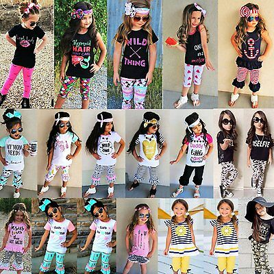 3PCS Toddler Kids Baby Girls T-shirt Vest Tops+Pants Outfits Summer Clothes Set