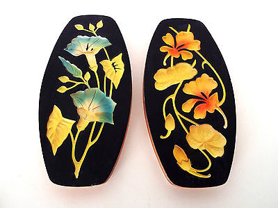 "2 Vintage Chalkware Oval Wall Plaques Black Yellow Blue Orange Floral 7"" x 3.5"""