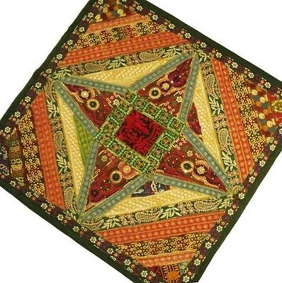 """40"""" Crazy Quilt Vintage Sari Decor Patchwork Embroidery Wall Hanging Tapestry"""