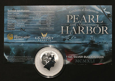 2016 Tuvalu Pearl Harbor $1 Silver  One Ounce .999 Silver
