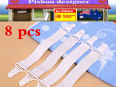 8PCS Elastic Bed Mattress Sheet Straps Clips Fasteners Grippers Suspender Clips
