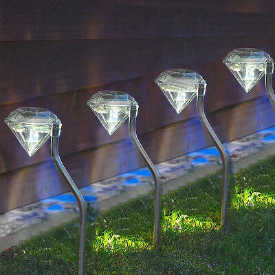 4x Solar Light Stake LED Lawn Light Outdoor Garden Path Decor Diamond Stake Lamp