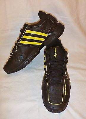 Adidas Adipower Barricade 8 US Mens Tennis Shoes Black Yellow Pre owned
