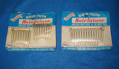 Vintage Grip-Tuth Hairtainer Hair Accessories Clear Comb Lot NEW Diadem 50s 60s