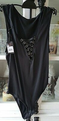 Brand New Bras N Things Black Lace Up Kimberley  Bodysuit Size 10 RRP$49.99