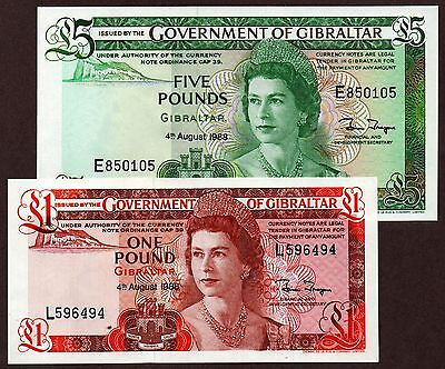 """Gibraltar """"British Colony"""" (1988) 1 & 5 Pound {DOUBLE} UNC Banknotes: P20 & P21"""
