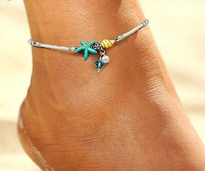 Boho Festival Silver Turquoise Beads Shell Starfish Anklet Ankle Chain Uk Seller