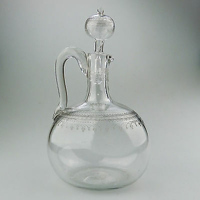 Antique Glass : A good Victorian etched Flask / Decanter C.19thC