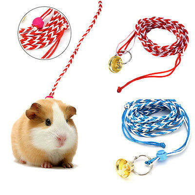 Adjustable Leash Collar Hamster GuineaPig Small Pet Lead Traction Rope With Bell