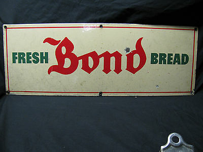 Original Porcelain Fresh Bond Bread Country Store/Gas Station Advertising Sign