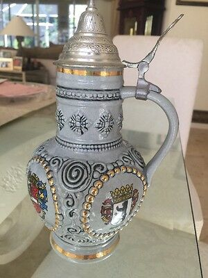 German Beer Stein Blue Ceramic With Coat of Arms -