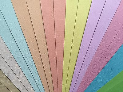 "20x sheets WEAVE CARDSTOCK 12""x12"" 200gsm PASTELS 10 colours"